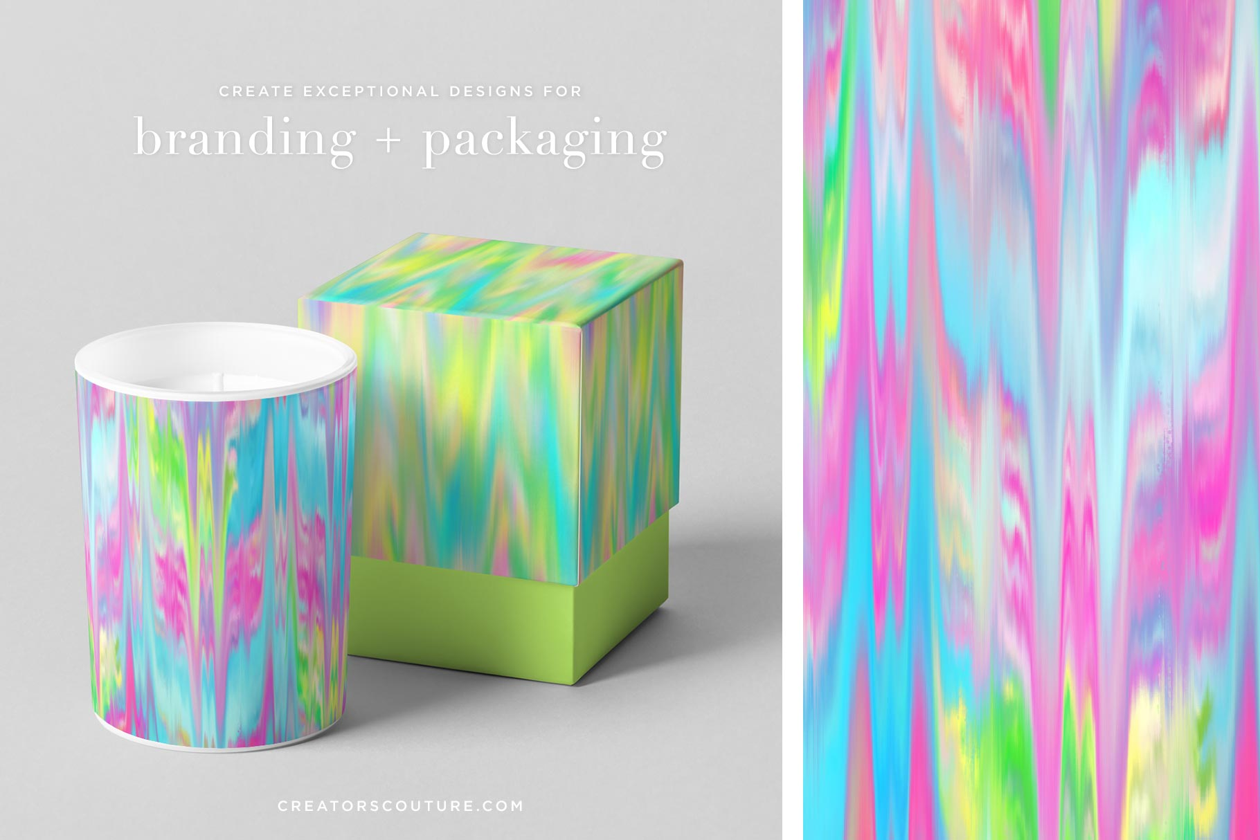 Ikat Inspired 'Palm Beach' Wet Paint Digital Backgrounds, branding and packaging sample