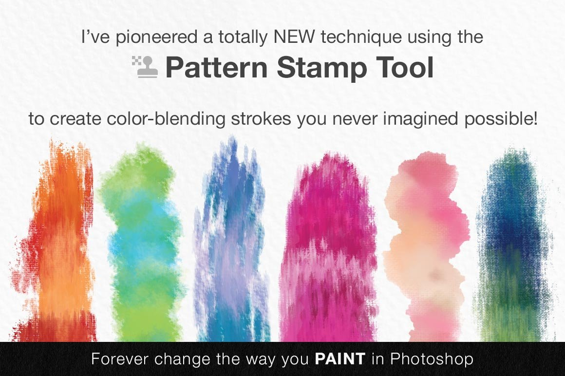 Impressionist Color Blending Photoshop Brushes featuring the pattern stamp tool