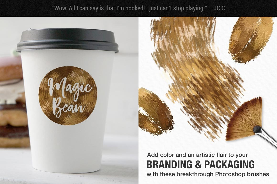 Impressionist Color Blending Photoshop Brushes for branding and packaging