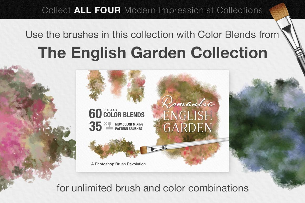 Impressionist Color Blending Photoshop Brushes, english garden collection