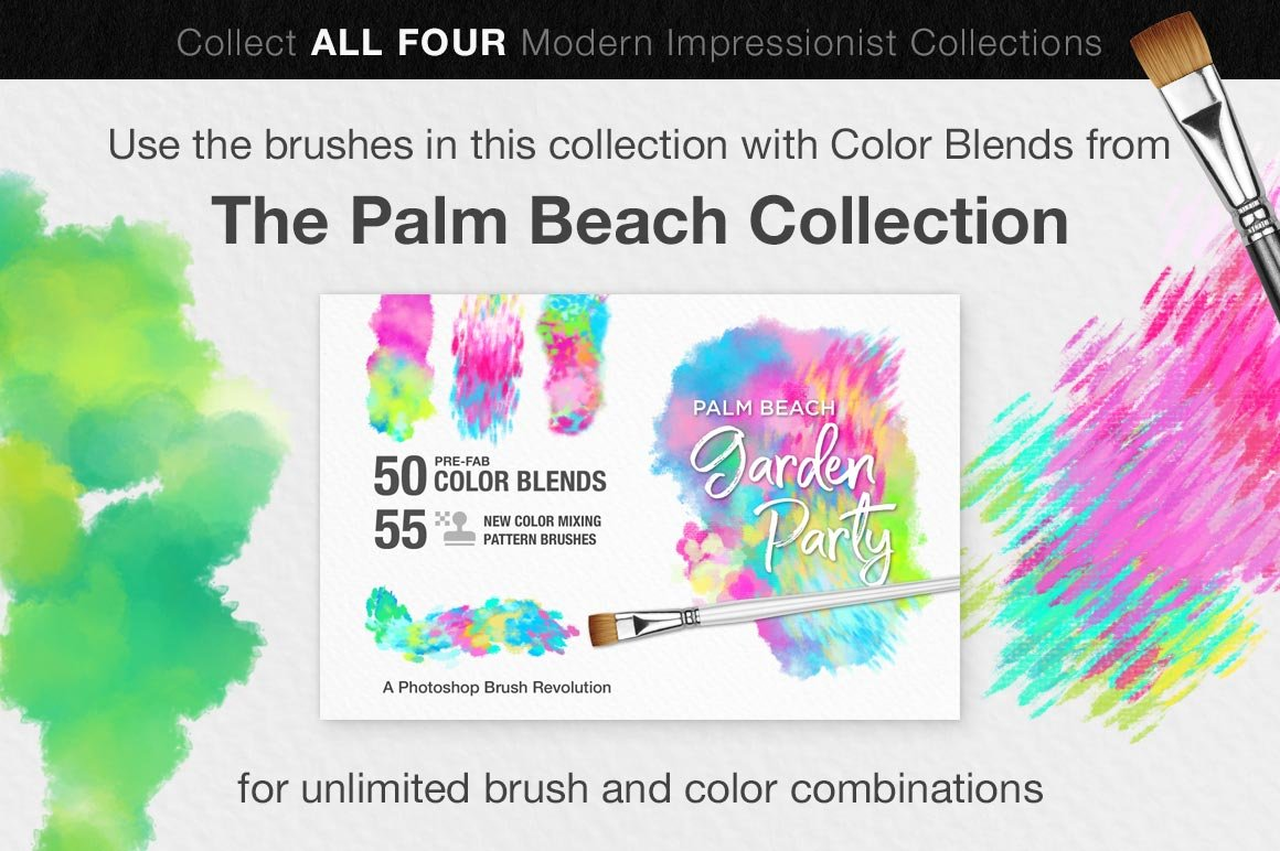 Impressionist Color Blending Photoshop Brushes, palm beach collection
