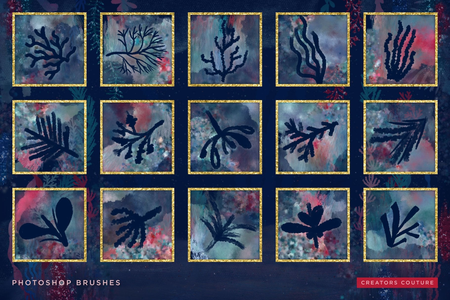 Seaweed & Coral Dreamy Hand Illustrated brushes for Photoshop, brush preview sheet