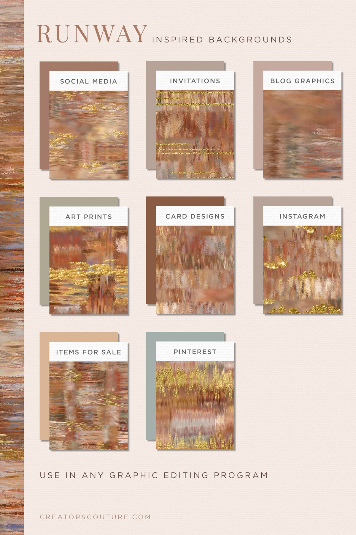 Earthy, Couture-Inspired Textile Digital Papers, pattern previews