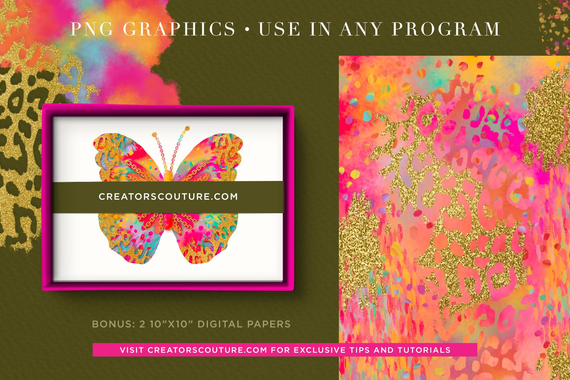 Rainbow Butterfly Graphic Collection | Clipart, Textures & Digital Papers - Creators Couture