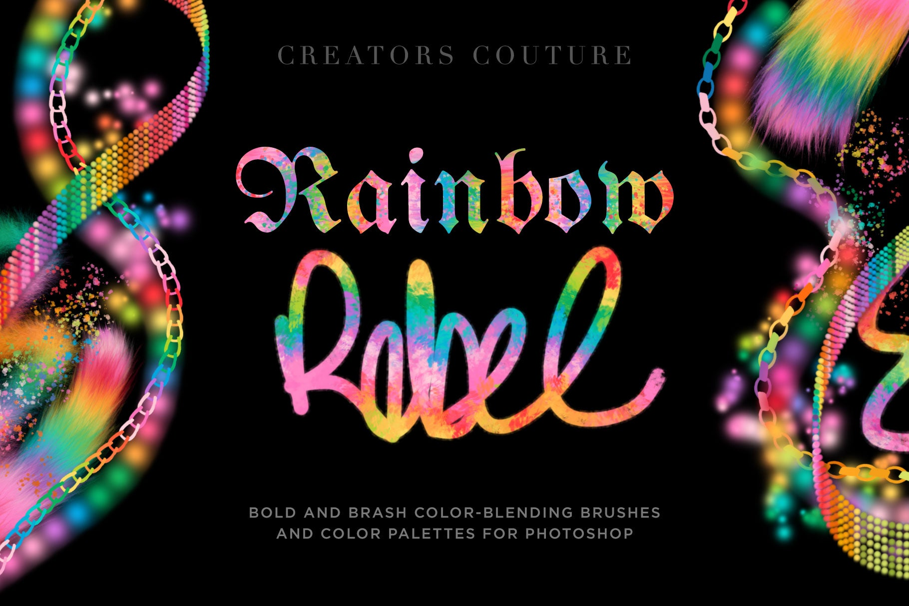 """Rainbow Rebel"" Color-Blending Photoshop Brushes and Color Palettes - Creators Couture"