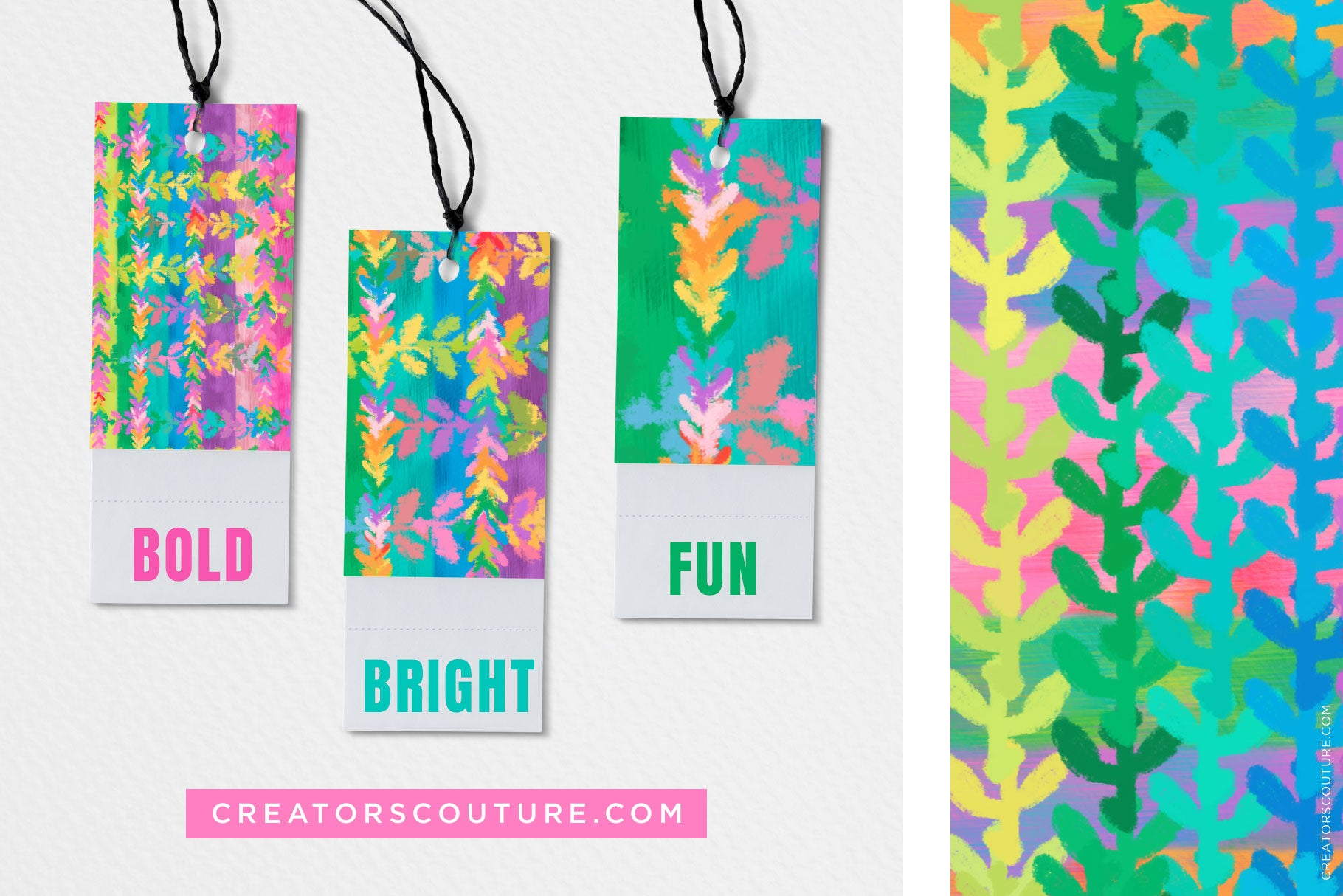 Rainbow Vine Pattern Digital Background: Bright and Bold - Creators Couture