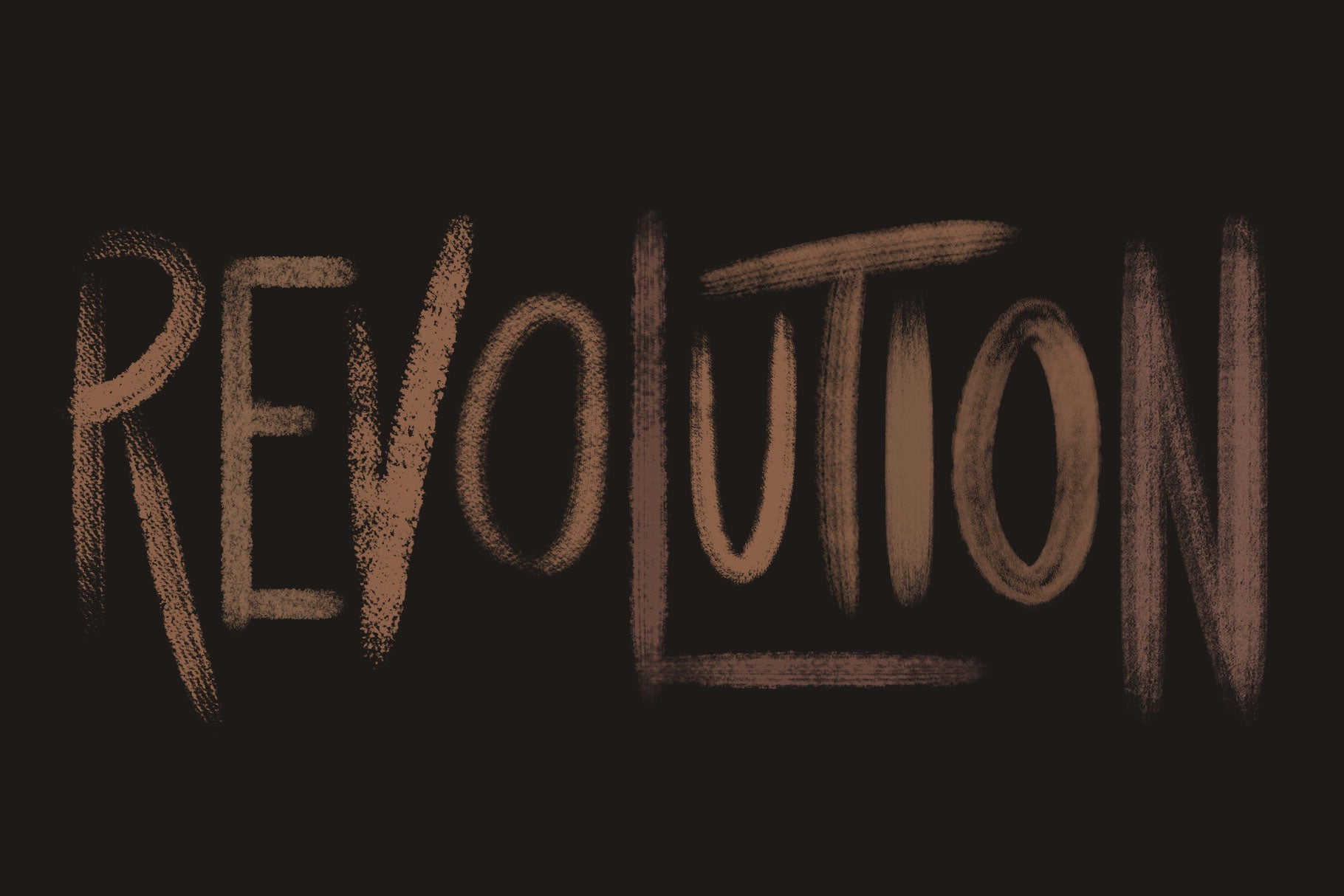 Brushwerk Your New Essential Fashion-Inspired Photoshop Brushes, 'revolution' textured brush lettering