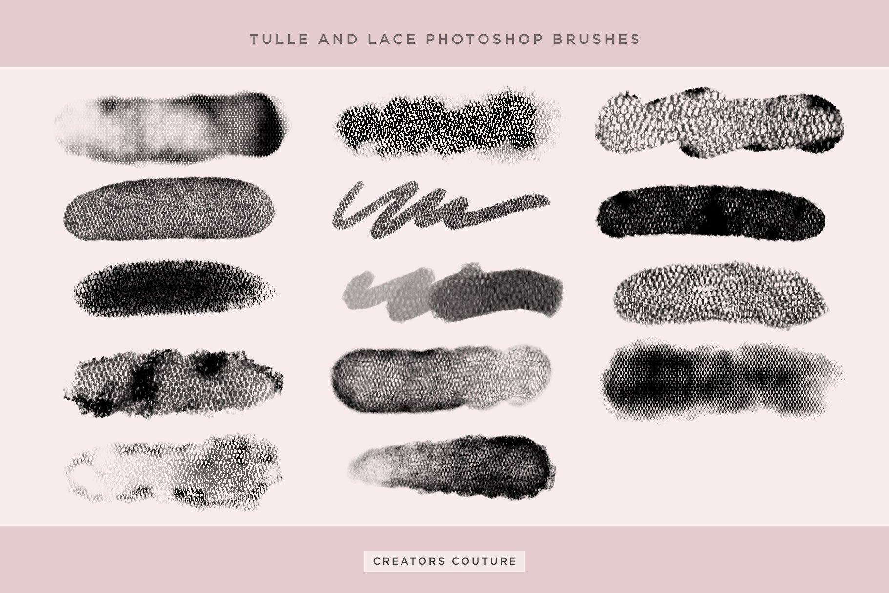 Artistic Tulle and Lace Fashion Inspired Photoshop Brush preview sheet