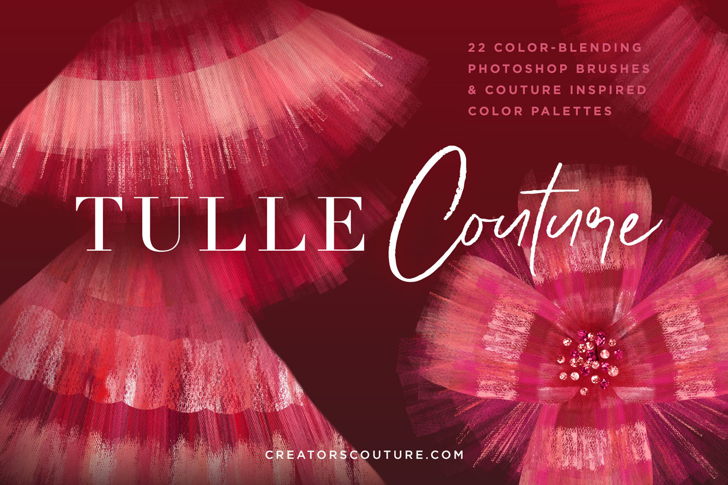 Tulle and organza couture multi-color Photoshop brushes, cover image