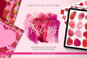 Valentine's Day Photoshop Brush Palettes, Heart Shaped Stamp Brushes, & Ready-Made Backgrounds