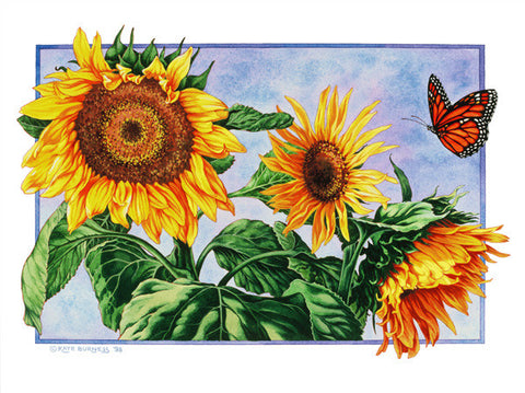 Sunflowers and Monarch Butterfly