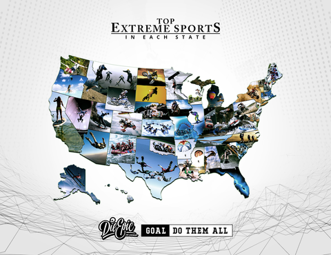 The most popular extreme sport in each state.