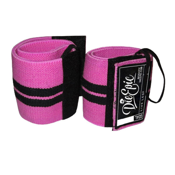 Pink Supportive Elastic Lifting Wrist Wraps w/ Thumb Loop