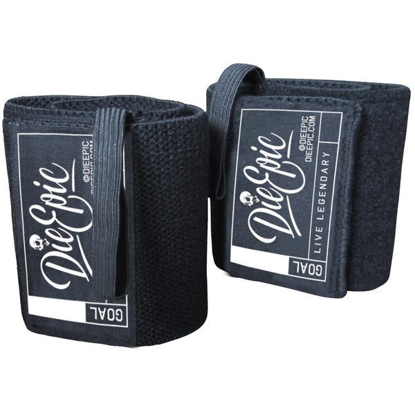 Black Supportive Elastic Lifting Wrist Wraps w/ Thumb Loop