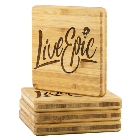 Live Epic Bamboo Coaster (4-piece set) - CelebrateEpic!