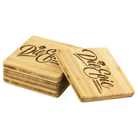 Image of Die Epic Bamboo Coaster (4-piece set) - CelebrateEpic!