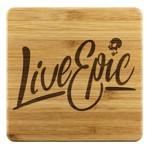 Image of Live Epic Bamboo Coaster (4-piece set) - CelebrateEpic!