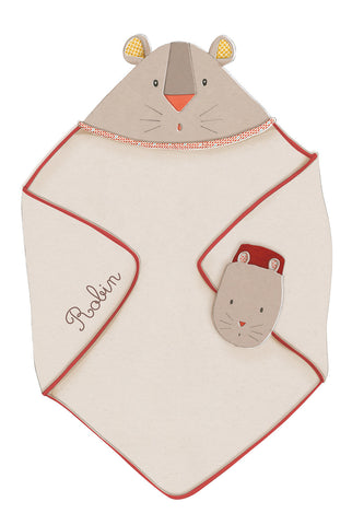Moulin Roty - Hooded towel + mitt Les Papoum