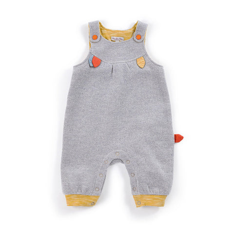 Moulin Roty - Leonny - grey dungarees with leaf detail