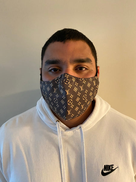 Brown  LV Designer Inspired Unisex Face Mask - Unisex / Reusable / Washable