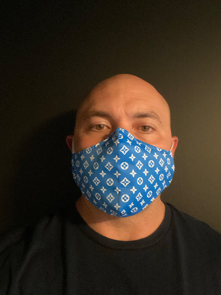 Blue  LV Designer Inspired Unisex Face Mask - Unisex / Reusable / Washable