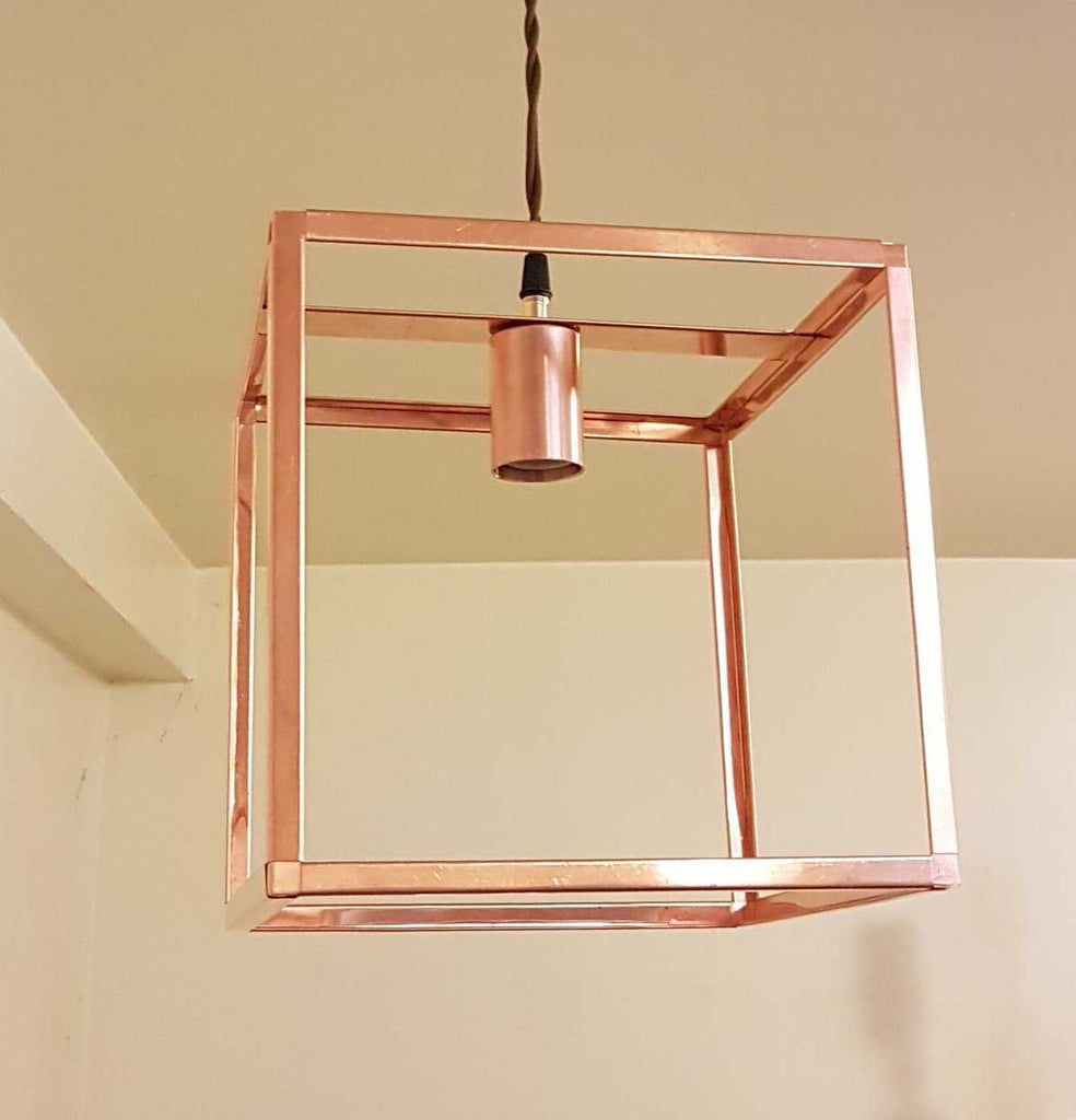 copper pendant lighting. Cube Copper Pendant Light - Design Lighting