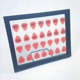 "8"" x 10"" Mirror Horizontal Guitar Pick Display Frame - CLEAR - Holds 28 Standard Guitar Picks"