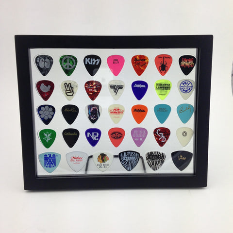 "8"" x 10"" COMBO Horizontal Guitar Pick Display Frame - CLEAR - Holds 28 Regular BASS Picks and 6 Bass Guitar Picks"