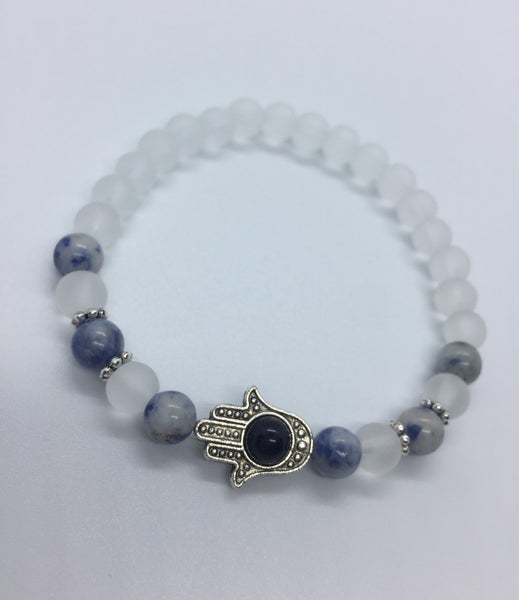 Hamsa Blue Gold Stone Bracelet - Sodalite and White Agate (Inner Strength and Light) - Berkley's Boutique