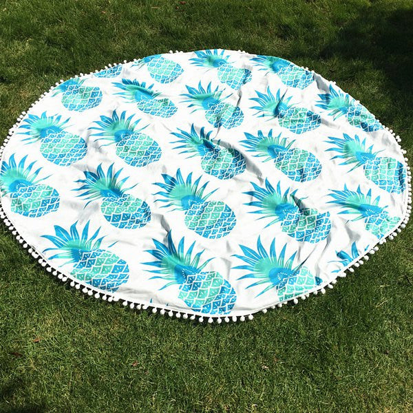 Pineapple Round Beach Throw - Blue - Berkley's Boutique