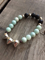 Rock Star Bracelet - Amazonite & Black Lava Stone with Silver Coated Spikes - Berkley's Boutique