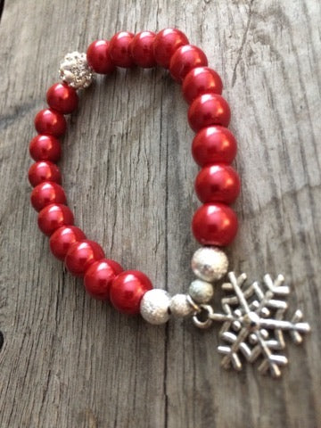 Berkley's Boutique - Hand Crafted Christmas Bracelet, Snowflake, Gold, Silver, Gifts For Her, Silver, Winter, Silver Snowflake,Christmas Ideas, Maroon, Swarovski Elements,