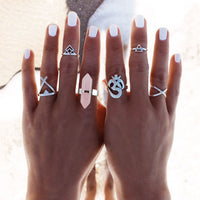 Boho Babe Ohm and Crystal - 6 PC Ring Set - Berkley's Boutique