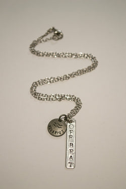 Berkley's Boutique - Aquarius Zodiac Off Beat Bar Necklace, Astrology, Nickel Free, Hand Made, Jewelry, Shop Local