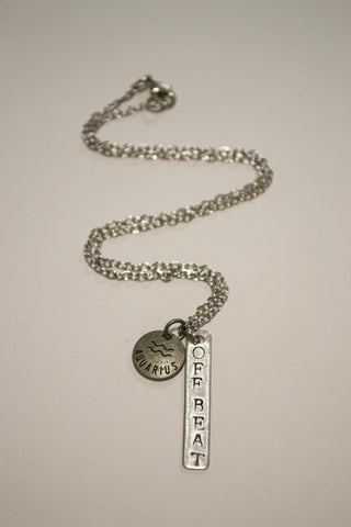 Crafted Jewelry Aquarius Zodiac Off Beat Bar Necklace, Astrology, Nickel Free, Hand Made, Jewelry, Shop Local