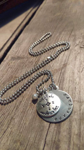 Berkley's Boutique - Wanderlust, Adventure, Pearl, Silver, Necklace, Not all who wander are lost