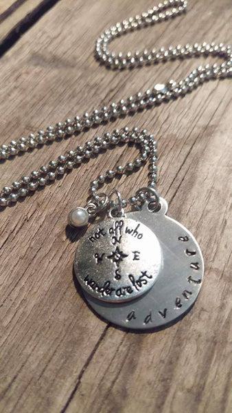 Crafted Jewelry Necklace, Silver, Charm, Focus, Be Free, Freedom, Compass,