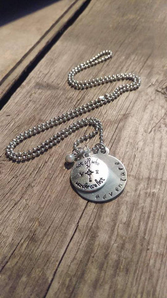 Crafted Jewelry Adventurous, Compass, Not All Who Wander Are Lost, Free, Travel, Necklace