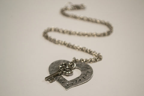 Crafted Jewelry Berkley's Boutique - Be Fearless - Hand Stamped Heart & Key Necklace, Nickel Free, Hand Made, Jewelry, Shop Local , Metal Stamping