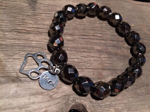 Crafted Jewelry black beaded bracelet with paw print charm bark, one of a kind, Berkley's Boutique