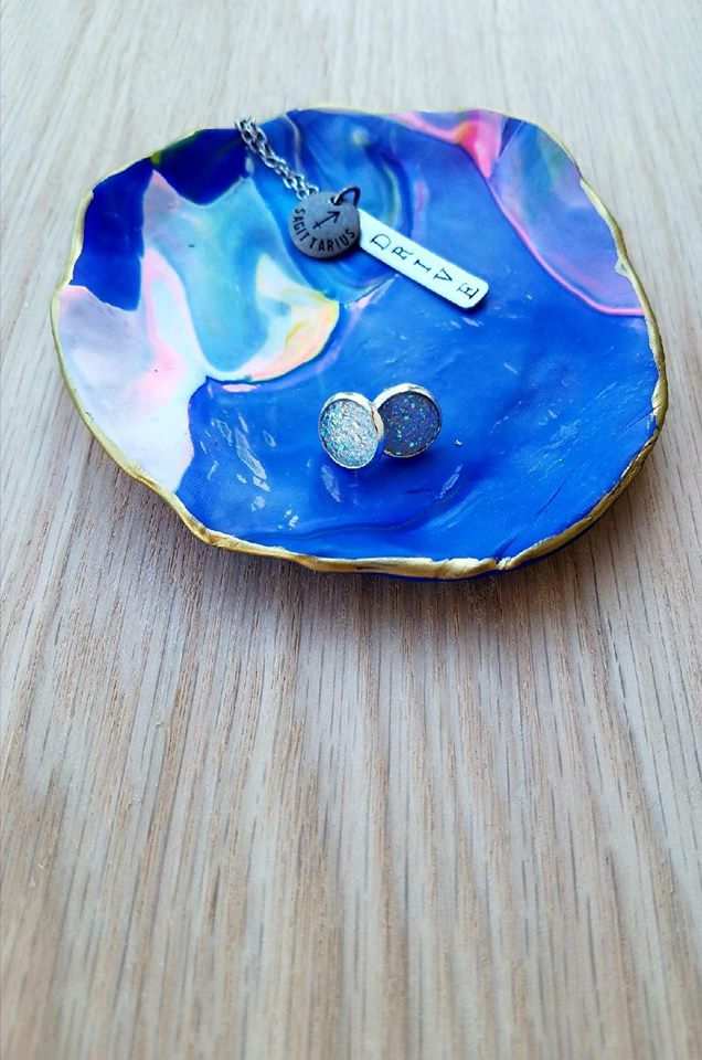 Crafted Jewelry Berkley's Boutique - Clay Jewelry Dish, Colourful, Colorful, Handmade, Hand Crafted, Blue, White Gold, Jewlery Care