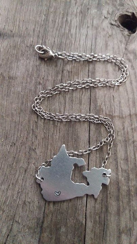 Berkley's Boutique -Oh Canada - Metal Cut Out Country Necklace - Stamped with Heart Over Desired City
