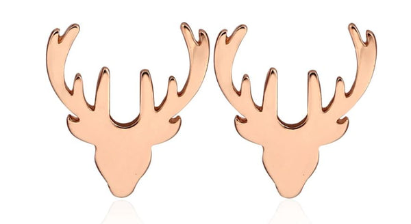 Rose Gold Reindeer Stud Earrings