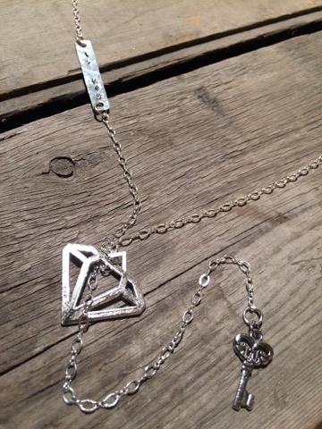 Diamond Love Is Key - Silver Pull-Through Lariat Necklace - Berkley's Boutique