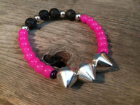 Rock Star Bracelet - Fuschia Pink & Black Lava Stone with Silver Coated Spikes - Berkley's Boutique
