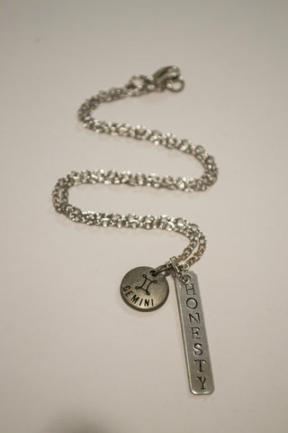 Berkley's Boutique - Gemini Zodiac, Honesty Bar Necklace, Astrology, Nickel Free, Hand Made, Jewelry, Shop Local