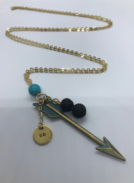 Follow Your Direction Arrow Gold and Turquoise Necklace - Essential Oil