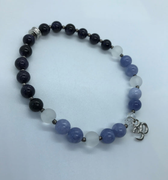 Silver Om - Navy Goldstone Sparkle with Quartz and Sodalite Stones (Negativity Repellar / Highest Self ) - Berkley's Boutique