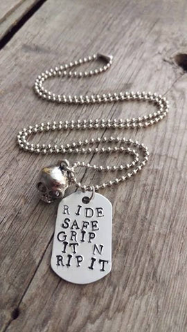 Crafted Jewelry Berkley's Boutique - Motorcycle Necklace, Dog Tag, Rip It, Grip It, Skull, Onyx, Charm, Skulls, Safety, Protection