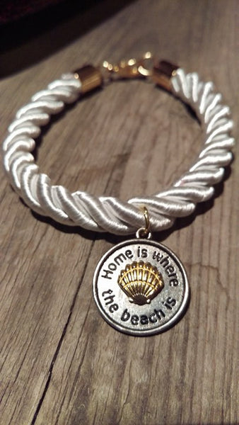 White Nautical Rope - Home Is Where The Beach Is Bracelet - Berkley's Boutique